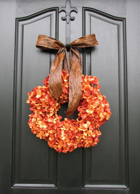 wreath decorations pumpkin pie thanksgiving wreath fall hydrangeas autumn