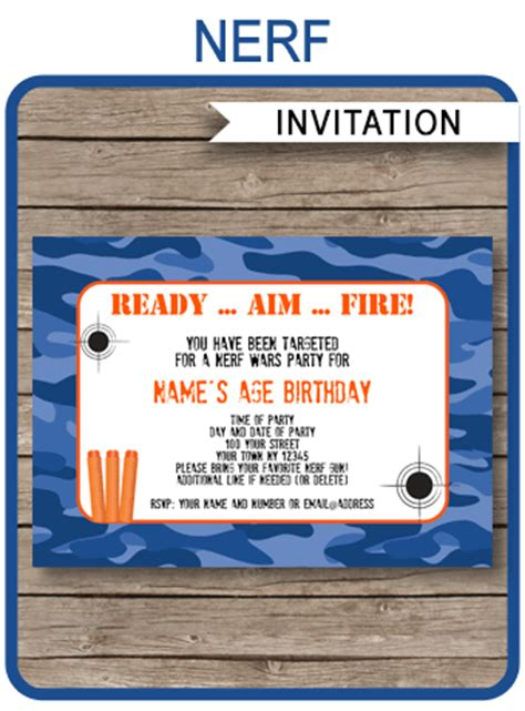 Nerf Birthday Party Invitations Editable Template Blue Camo Nerf Invitation Template Free
