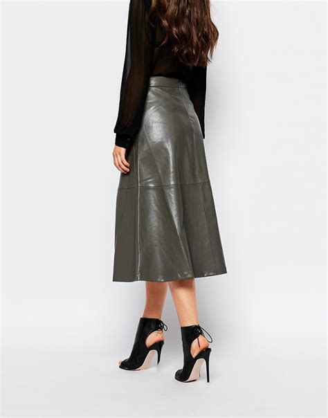 mango a line midi faux leather skirt in gray grey lyst
