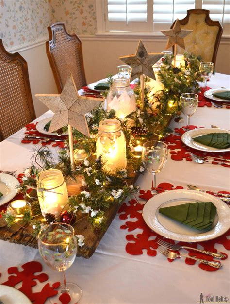 simple table decorations to make winter tablescape tool belt