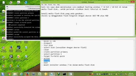 tutorial instal windows 7 melalui flashdisk cara install windows melalui flash disk diskpart youtube