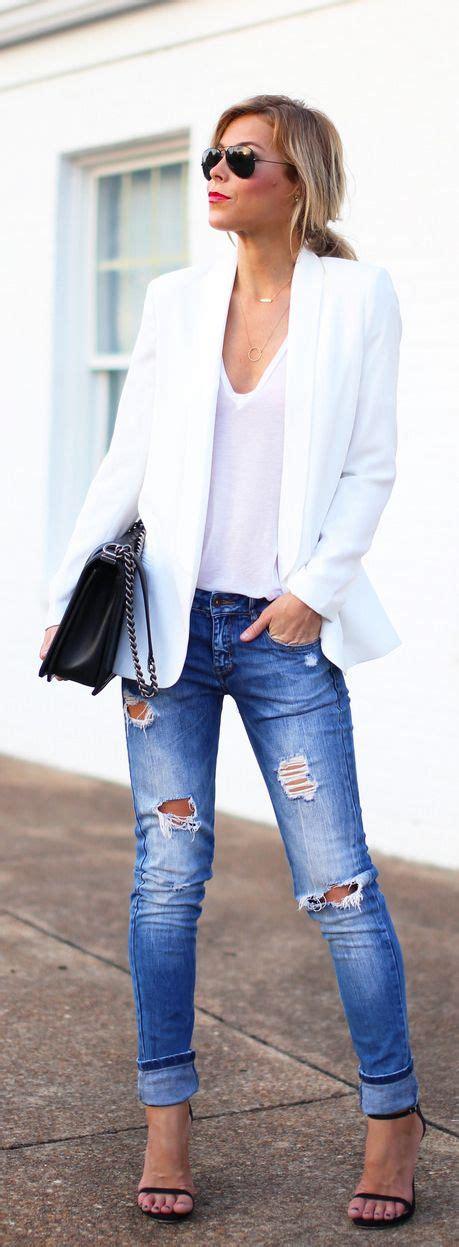 white blazer neutral colored tank black jeans pants spring style staple women s white blazer bags blazers