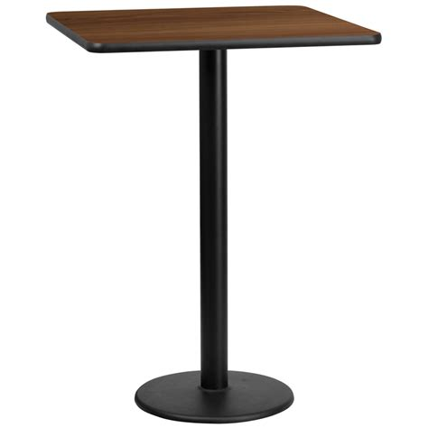 bar top height tables 30 square walnut laminate table top with 18 round bar