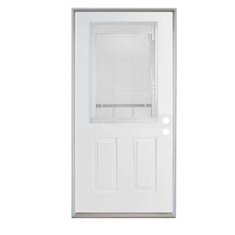 Shop Reliabilt 36 Quot Steel Entry Door Unit With Blinds In Glass Blinds Exterior Door