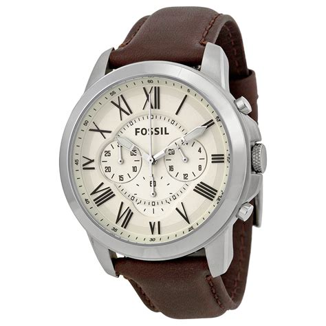 Fossil For fossil grant chronograph egg shell brown leather mens