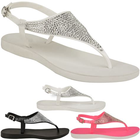 jelly sandals for womens jelly diamante sandals womens flat flip flop