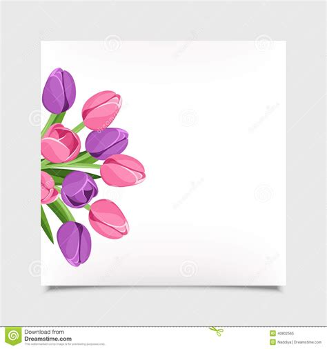 tulip template card vector card with tulip flowers eps 10 stock vector