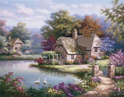 Beautiful Painting Of House On The Lake Pictures, Photos