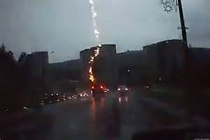 Lightning Hits The Car Lightning Apparently Strikes Suv On Highway