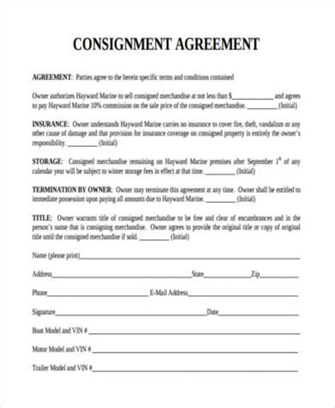 consignment store contract template consignment agreement form sles 9 free documents in pdf