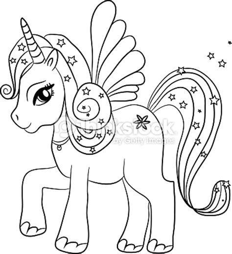 Unicorn Coloring Page For Kids Vector Art   Thinkstock