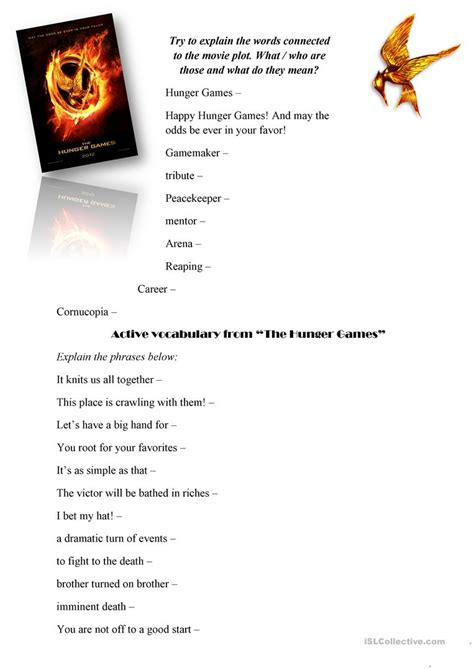 the hunger games themes worksheet answers the hunger games movie worksheet worksheet free esl