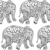 mehndi elephant coloring page henna fabric wallpaper gift wrap spoonflower