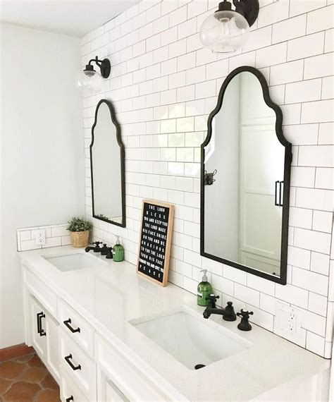 white vanity mirror for bathroom bright white bathroom double vanity tile wall bathroom