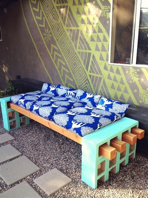 diy concrete block bench diy cinder block outdoor bench the owner builder network