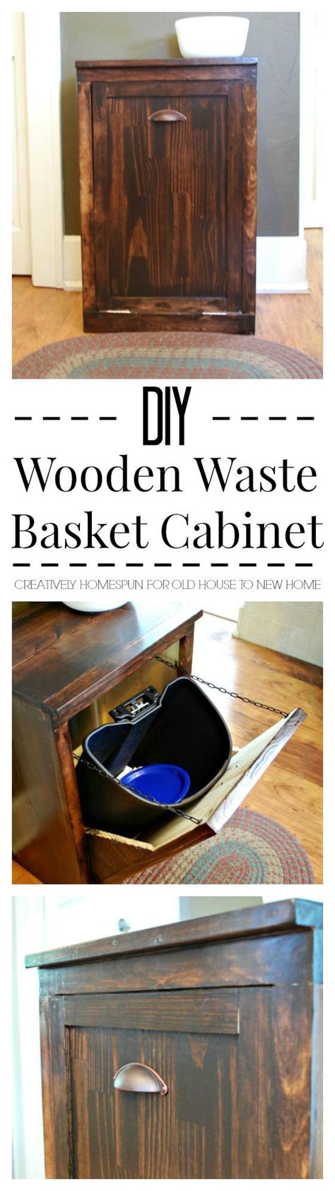 Waste Basket Cabinet by Diy Wooden Waste Basket Cabinet