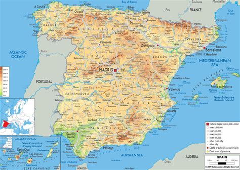 large map large detailed physical map of spain with all roads