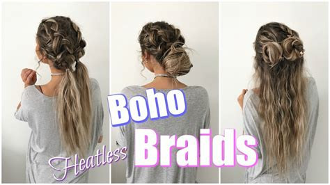 hairstyles every girl needs to know boho braids quick easy heatless hairstyles youtube