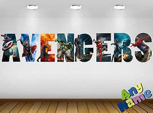 personalised marvel wall decal stickers kids avengers name marvel avengers name letters wall stickers decals 3 pre