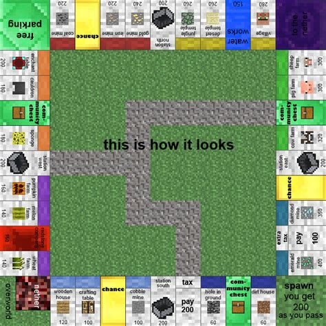 Papercraft Card - papercraft minecraft monopoly with all the cards and money