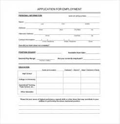 Standard Application Form Template by 15 Employment Application Templates Free Sle