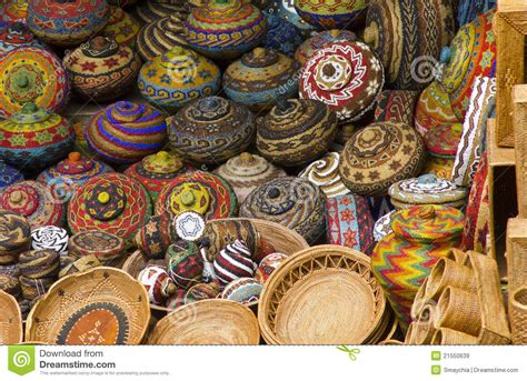 Handcrafts For - colourful traditional handicraft basket stock image