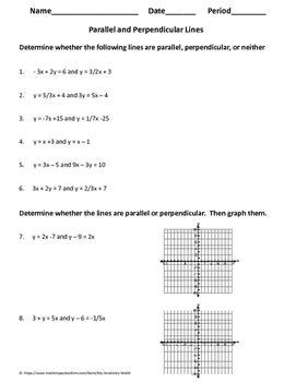 algebra 1 worksheet parallel perpendicular lines by my