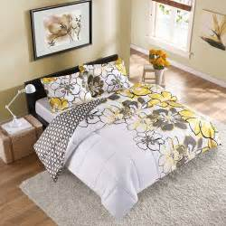 Bedding Sets For Dorms 2pc Yellow Black Gray Flower College