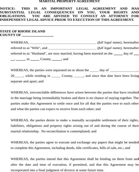 marital settlement agreement template rhode island marital settlement agreement form for free page 14 formtemplate