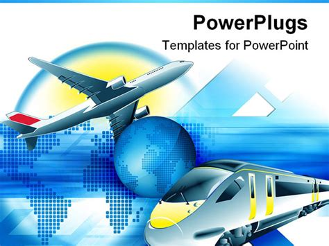 powerpoint template travel theme with modern train and