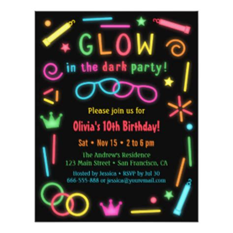 Glow in the dark party invitations amp announcements zazzle