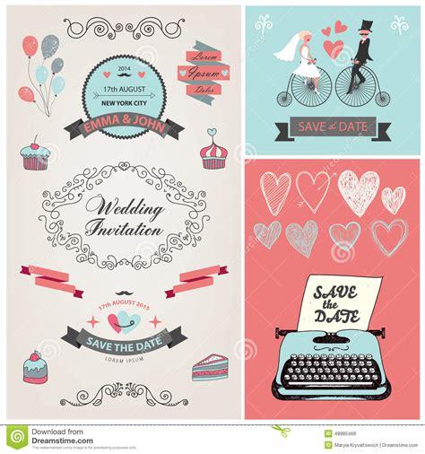 design invitation wedding vector set of vector vintage wedding invitation design stock