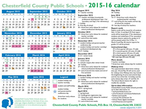 Chesterfield County School Calendar Chesterfield County School Calendar 2017 Calendar 2017