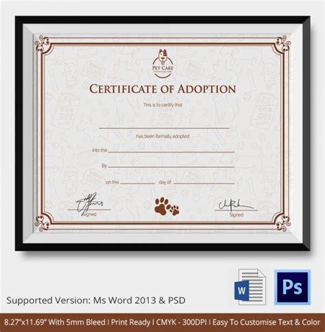 sle adoption certificate template 18 documents in