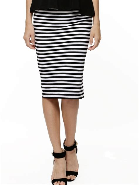 Multi Stripe Pencil Skirt buy koovs striped pencil skirt for s multi