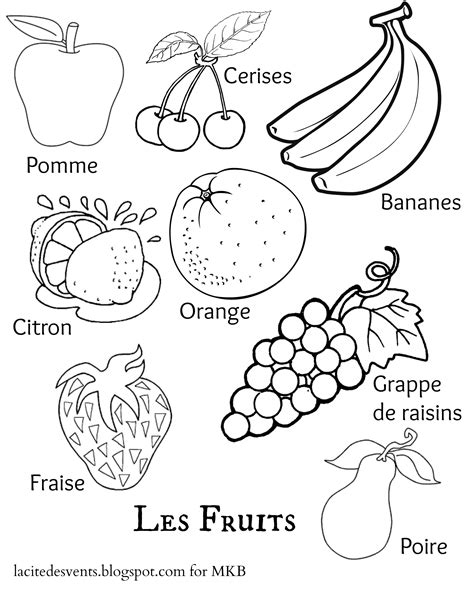 spanish food coloring page multilingual printables fruits and vegetables in 7 languages