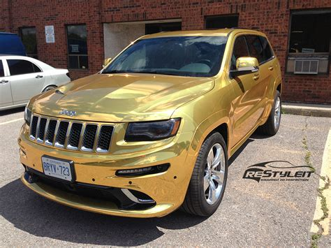 Gold Chrome Jeep Grand Cherokee Srt8 Vinyl Car Wrap