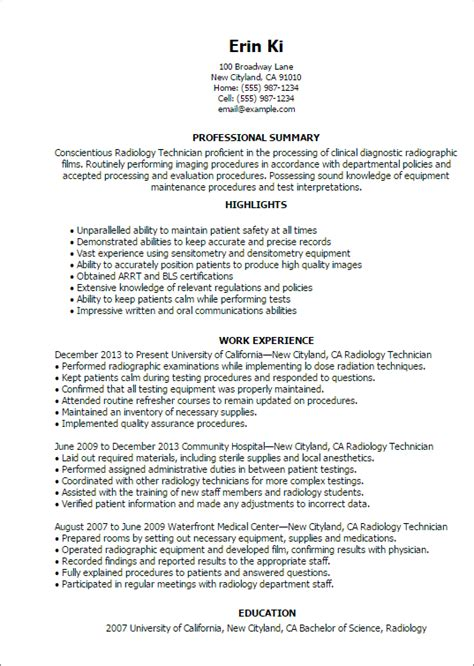 Pest Control Resume Examples by Professional Radiology Technician Templates To Showcase