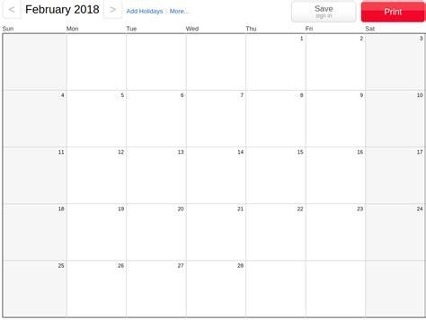 your own calendar 2018 february 2018 calendar printable templates
