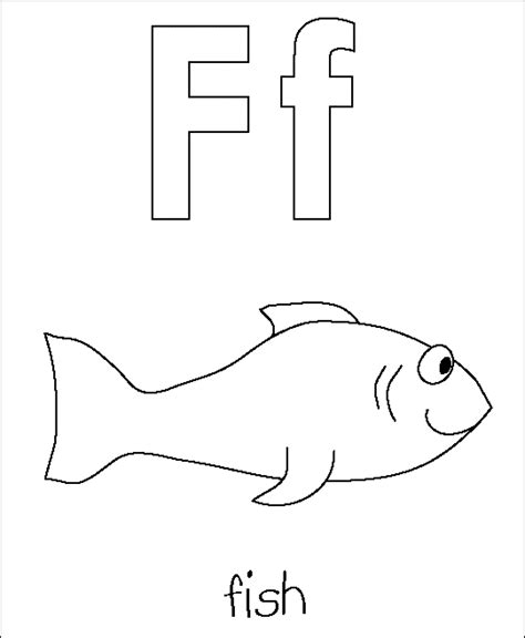 letter f fish coloring pages for preschoolers printable