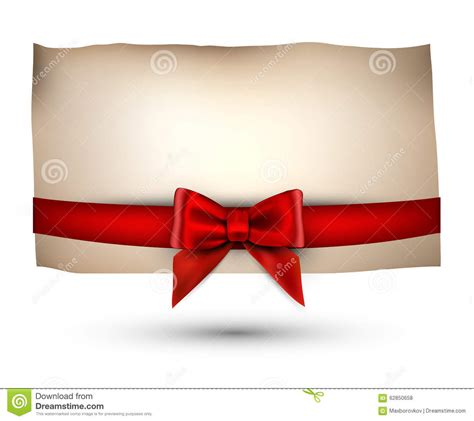 festive card with bow stock vector image 62850658