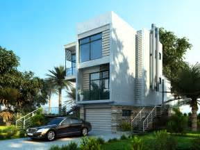 Story white modern home design on the beach in the tropics with palm