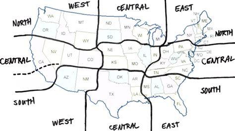 us map divided south east west usa regional designations