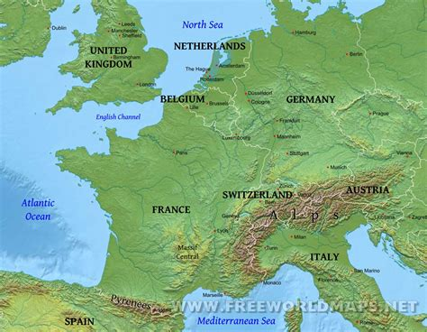physical map europe western europe physical map and of roundtripticket me
