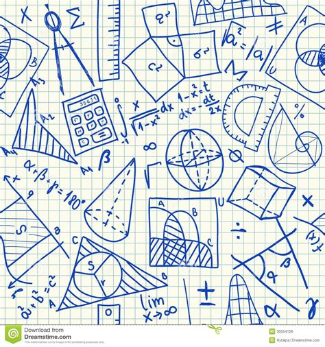 pattern design in maths mathematical doodles seamless pattern stock vector