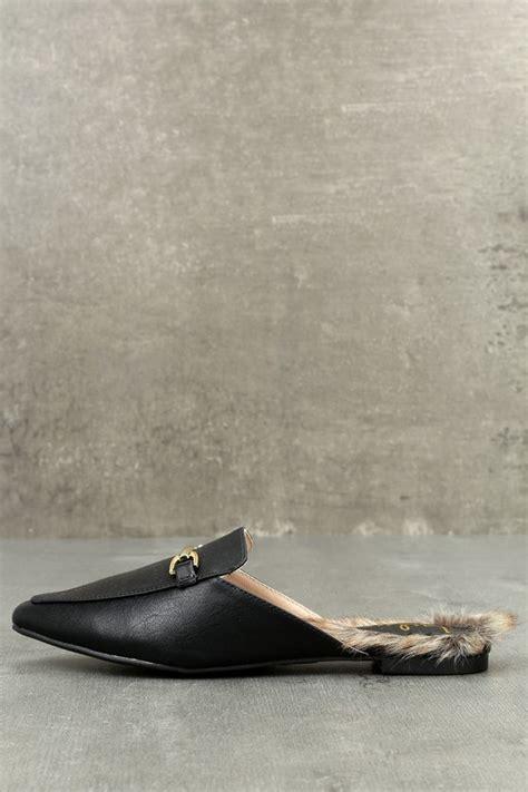 Faux Fur Loafers chic black loafer slides faux fur loafers slip on