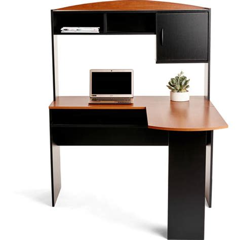 Walmart Office Desk Mainstays L Shaped Desk With Hutch Finishes Walmart