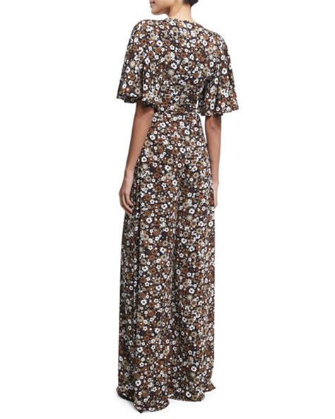 Jumpsuit Palazzo Floral michael kors collection floral palazzo jumpsuit brown pattern