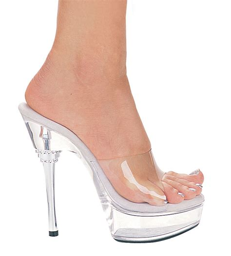 6 quot silver stiletto heel shoes with clear platform