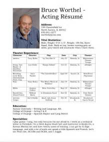 acting cv template acting resume sample no experience